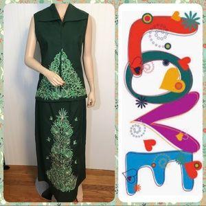 Vintage Embroidered Green Skirt Set